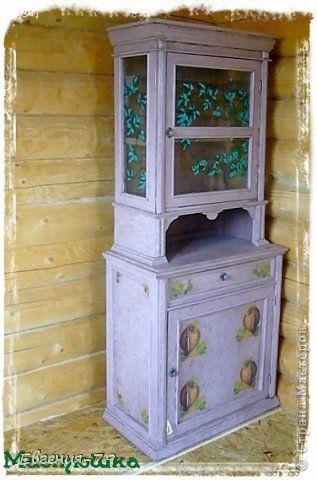 Декор предметов Декупаж Кракелюр Кухонный буфет на дачу Дерево Стекло фото 1