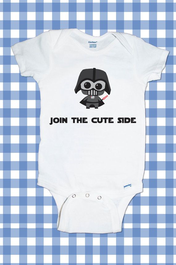 """Adorable Custom Star Wars Darth Vader """"Join the cute side""""  One-Piece  Funny Custom T-Shirt Baby boy Bodysuit  .Handmade ALL SIZES on Etsy, $12.70"""
