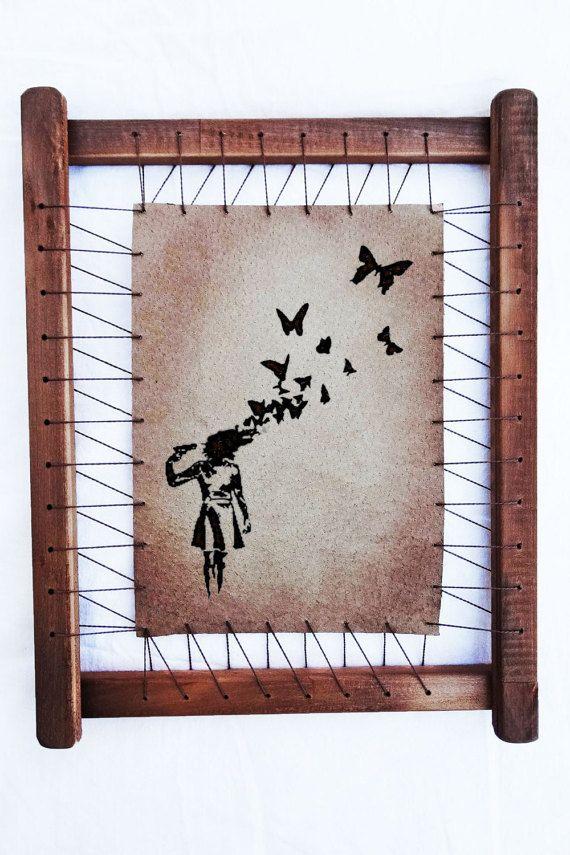 Banksy Prints Butterfly Headshot Wall Decor Banksy Canvas
