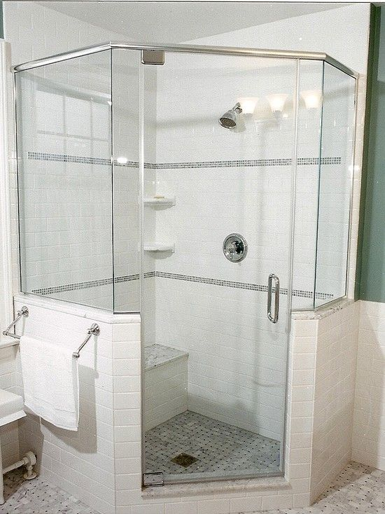 Pin by wendy k on bathroom ideas pinterest for Half wall shower glass