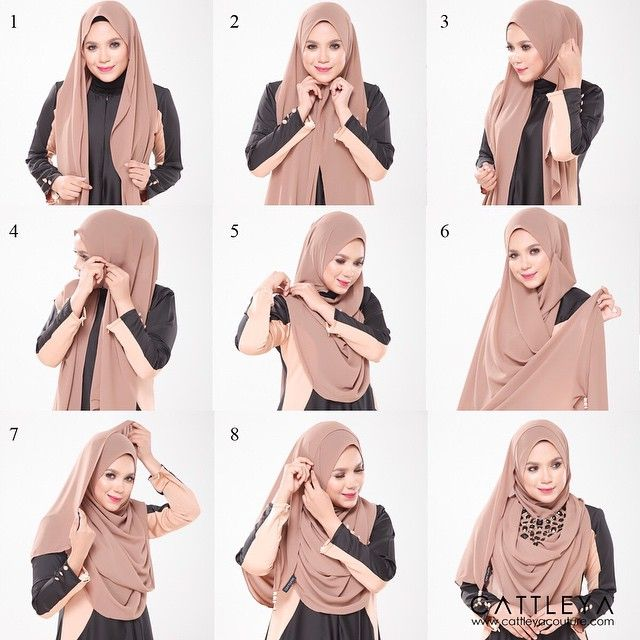 1. Place the hijab on your head with equal side 2. Pin under your chin 3. Bring the left side a little bit to the top 4. Pin it 5. Then bring it loosely to your right shoulder and pin it 6. Take the long side 7. Wrap it all over your head 8. Pin it 9. Add a statement necklace