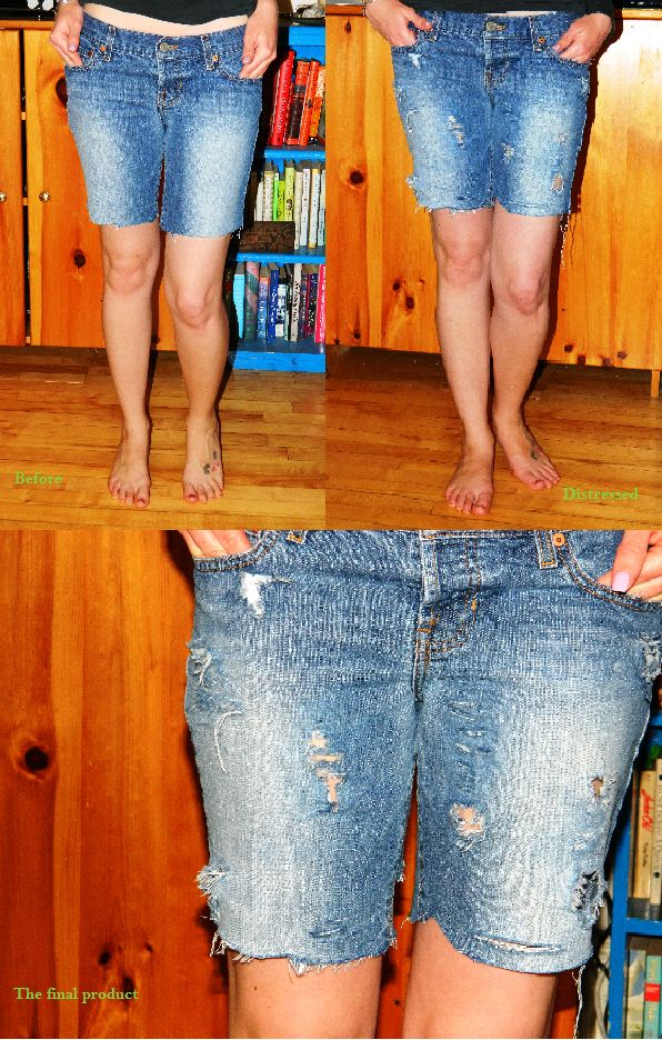 Learn how to create distressed jean shorts with tips from @WoreOutVT!