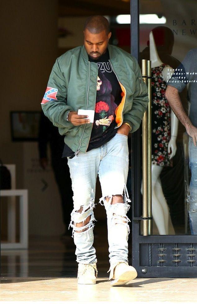 Kanye West Leaves Barneys NY wearing Yeezus Tour Flagship Flight Bomber Jacket and Tee | UpscaleHype