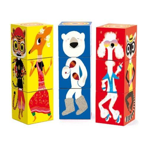 12 cubes animaux couleurs Djeco pour enfant de 3 ans à 5 ans - Oxybul éveil et jeux