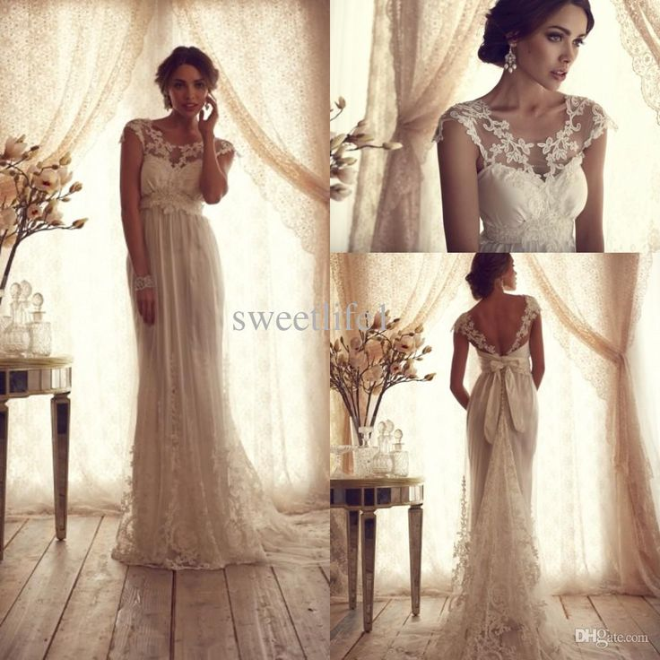 2015 Vintage Lace Wedding Gowns Anna Campbell A Line Beach Dresses Appliques Backless Hot Cheap
