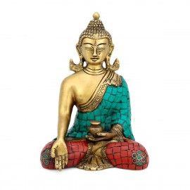 Brass Earth Touching Buddha Statue Tibetan Religious Fengshui Figurine