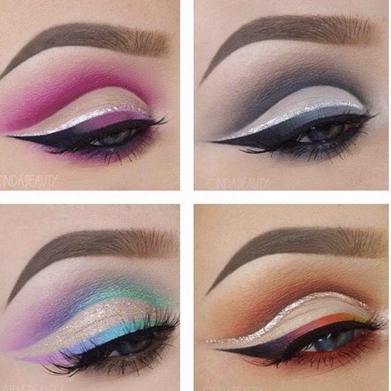 4 different cut-crease eyeshadow looks #makeup #eyeliner #fleek #slay #lashes