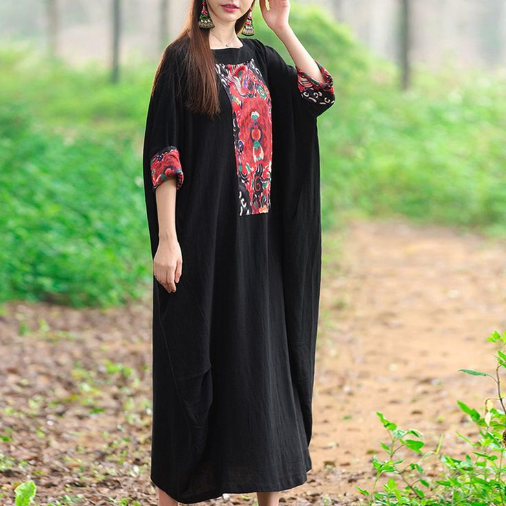 Cotton Vintage Printed Long Dress