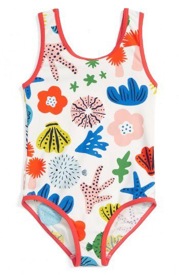 Girl's Mini Boden Print One-Piece Swimsuit