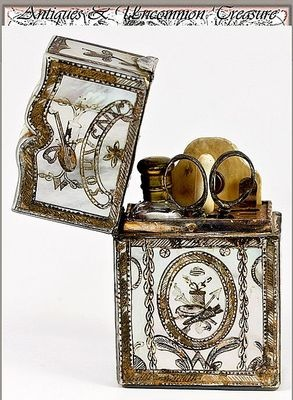 D'Amitie Antique French Sewing Tools Necessaire Mother of Pearl Gold Inlay....This would be such a treasure.