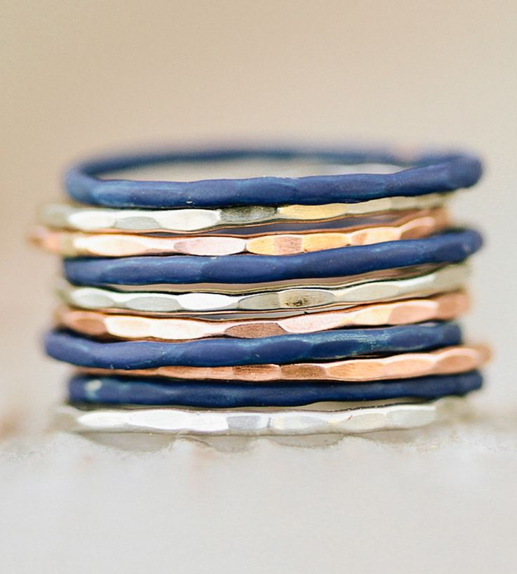 Tri-Color Stacking Rings, Set of 10 by Amy Waltz Designs on Scoutmob