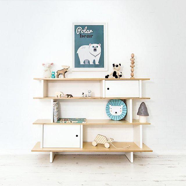 Gorgeous shelf styling proving less is more from @bobbyrabbitkids  #shelfie #playroom #kidsroom #nurseryinspo