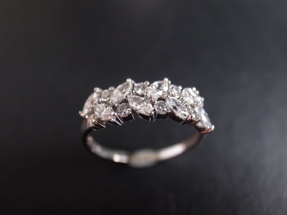 Marquesa diamante anillo en oro blanco de 14K por honngaijewelry
