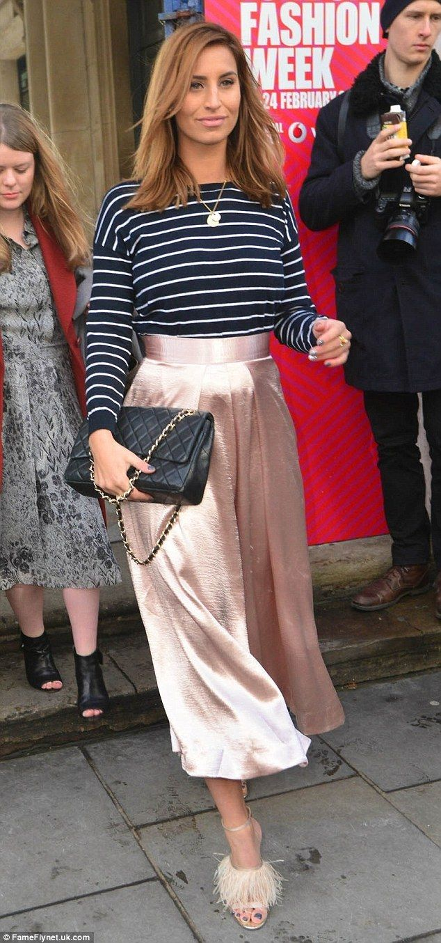 Flalwess: Ferne McCann simply dazzled in a salmon pink flowing pencil skirt and pinstriped...