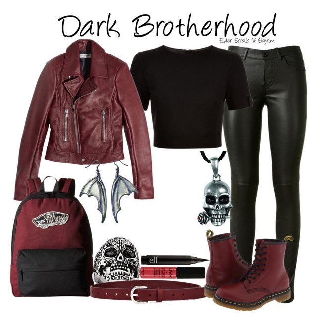 """Dark Brotherhood // Elder Scrolls V: Skyrim"" by glitterbug152 ❤ liked on Polyvore featuring Yves Saint Laurent, Ted Baker, Balenciaga, Vans, West Coast Jewelry, Étoile Isabel Marant, Dr. Martens, NYX, skyrim and videogames"