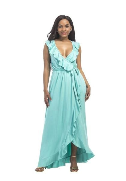 8074f96d67b Light Blue Ruffle Sashes Deep V-neck Slit Irregular Plus Size Maxi Dress