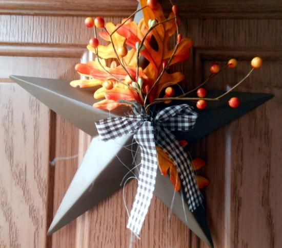 fall door decorating ideas | ... Star Wreath Thanksgiving Fall Country Primitive Door Wall Decor Autumn