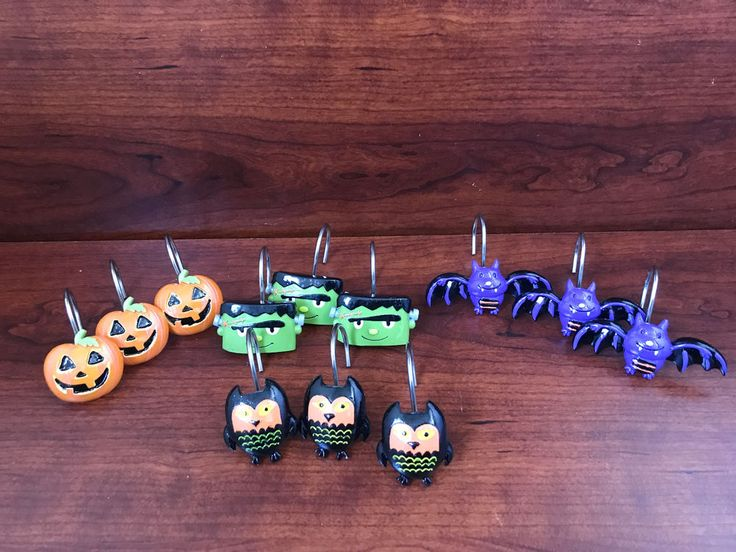 Set Of 12 Adorably Spooky Halloween Shower Curtain Hooks