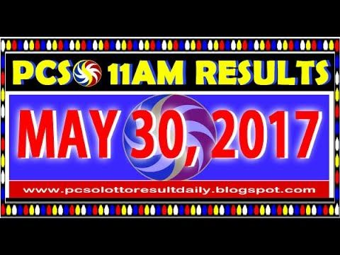 PCSO MidDay - 11AM Results May 30, 2017 (SWERTRES & EZ2)