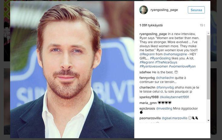"""Näyttelijä+Ryan+Gosling:""""Naiset+ovat+parempia+kuin+miehet"""""""