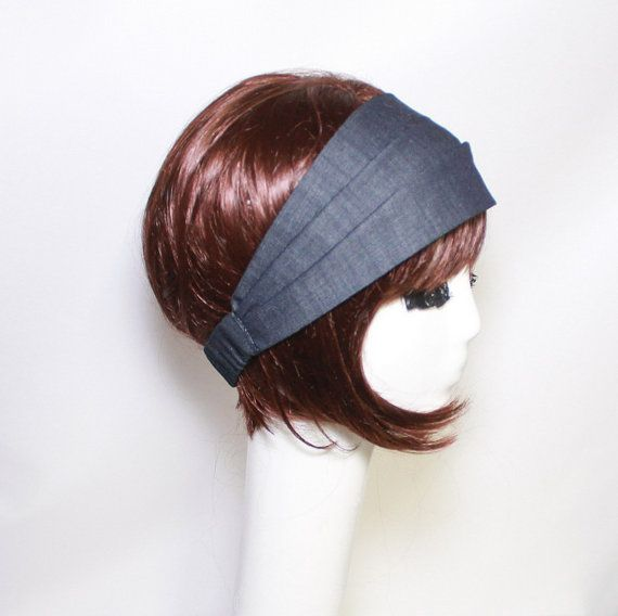Denim Headband Turban Headband Denim Turban by Bellastarrhats