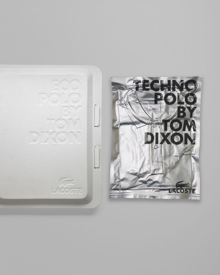 """Tom had a large influence on the design of the packaging but gave us total freedom in the actual graphics and typography. For the Eco Polo we did not want to use ant printing on the packaging and labels at all, so the design was embossed into a recycled, egg carton-like material. For the Techno Polo Tom suggested a silver, vacuum-packed foil packaging that was screen-printed."""