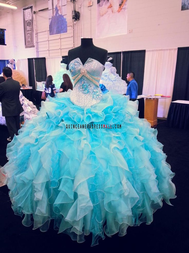 Turquoise And Baby Blue Crystal Beaded Organza Ruffles New