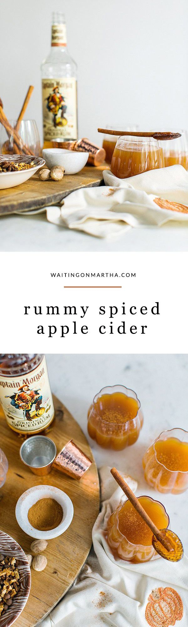 Rum spiced apple cider cocktail recipe by @waitingonmartha