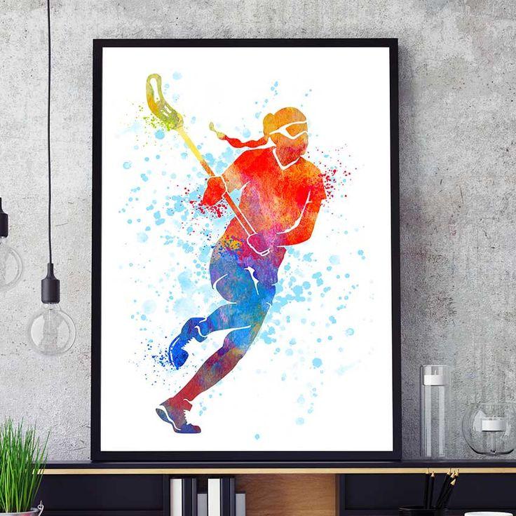 Lacrosse Girl Art, Lacrosse Woman Print, Lacrosse Player, Watercolor Prints, Sports Decor, Lacrosse Wall Art, Kids Room, Team Player (N002) by PointDot on Etsy