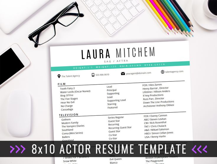 8x10 Actor Resume Template - 8x10 Actor Resume Template - INSTANT DOWNLOAD acting resume template! 8x10 acting resume format. Easy to edit in Microsoft Word. For the beginner or professional actor. Acting CV.