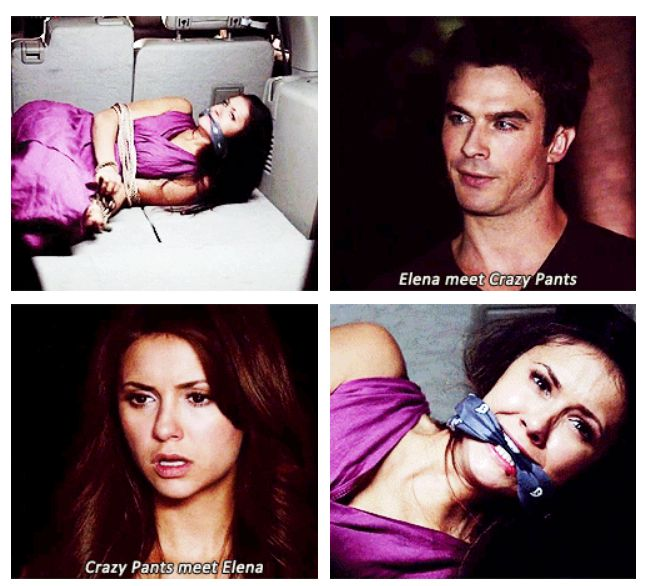 Meet Crazy Pants - Elena, Damon & Amara.... Side note: Nina Dobrev must be exhausted. Elena, Katherine AND Amara? Nina's a busy lady.
