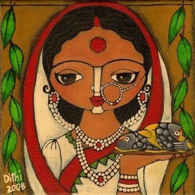 Bengali wedding paintings #inDia the cutest painting.. looks like mother Sita with red bindi and simplest red and white sari in illustrated art fashion