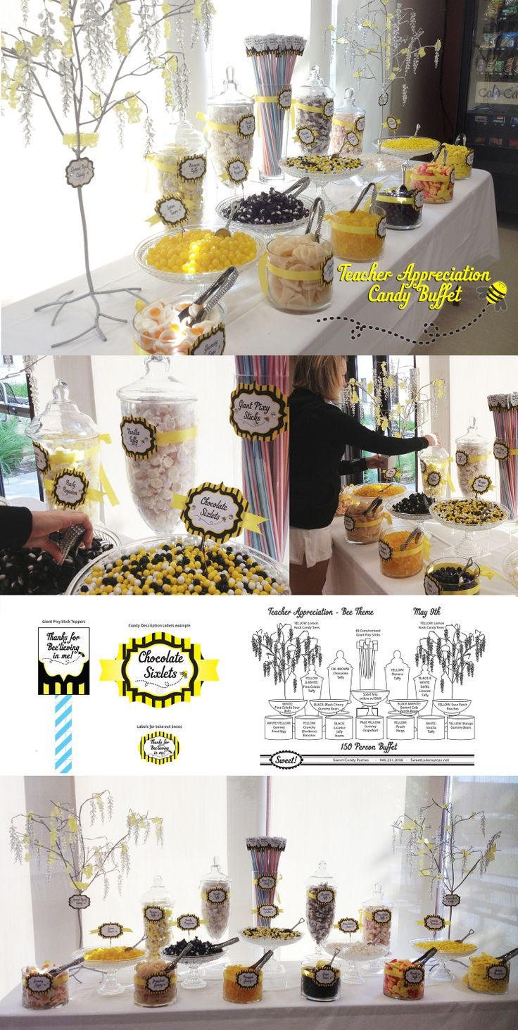 """Teacher Appreciation Candy Buffet - Bee Theme. """"Thanks for Bee-lieving in me"""" Yellow and black striped with white. The teacher loved it! 8 foot table flanked by two Lemon Yellow Rock Candy Draped Trees. 60 Pixy Sticks (Customized with our theme) was our centerpiece. Sweet! Candy Shop  in Ladera Ranch 949-351-7511"""