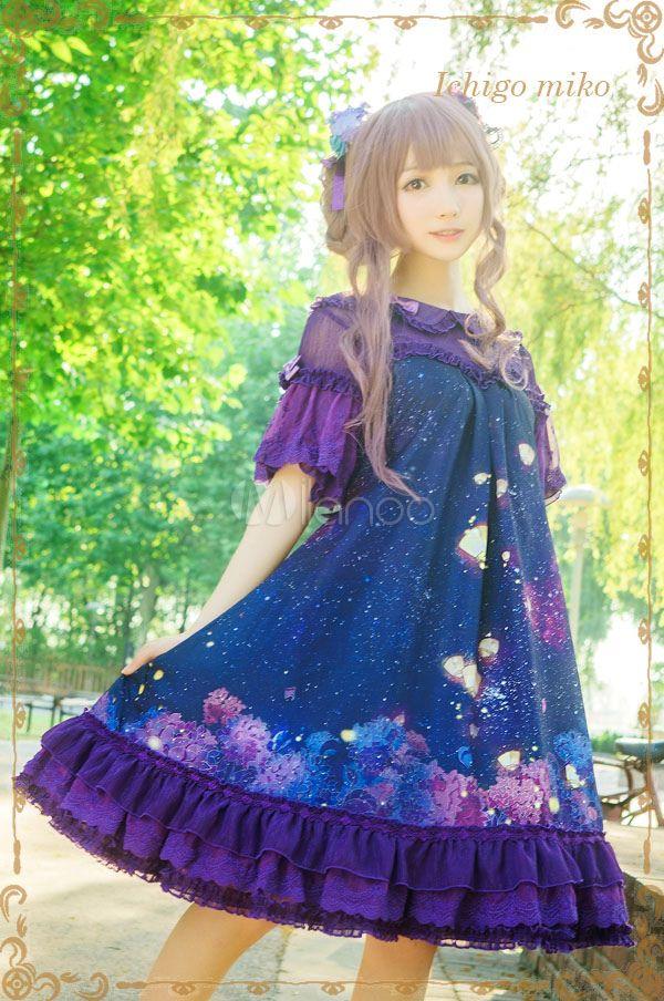 Lolita púrpura de gasa vestido con deslumbrante cielo noche estampado - Milanoo.com