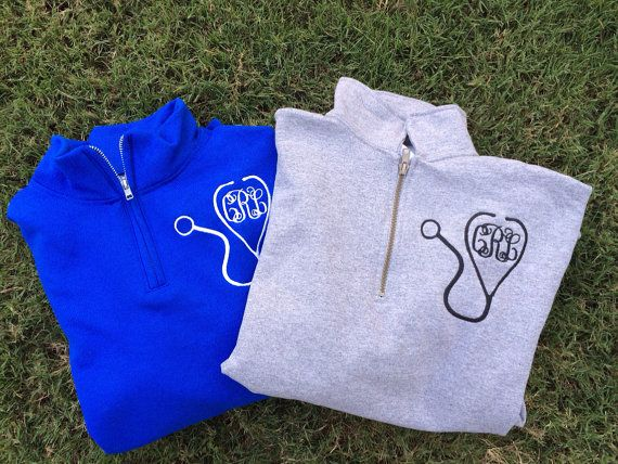 Welcome to LuLu Bleu!!! This monogram quarter zip is perfect for any nurse or doctor and is both comfy and classy!!    Monogrammed Quarter Zips