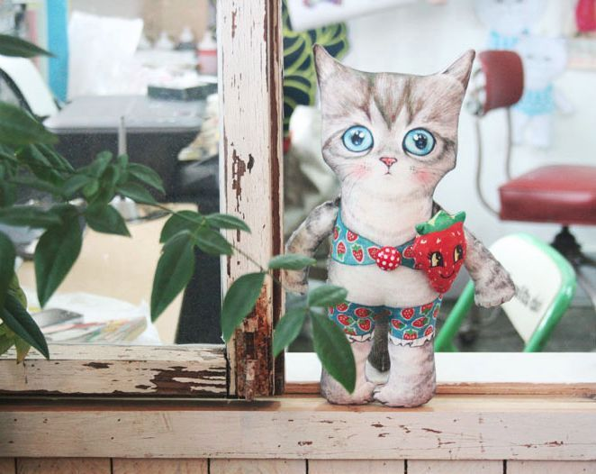 D.I.Y Fabric no.5/Uncle cat/Vikini/cat/himalayan/Persian/cut/sew/panel