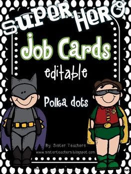 shop online clothes men Super Hero Editable Job Cards  Polka Dots