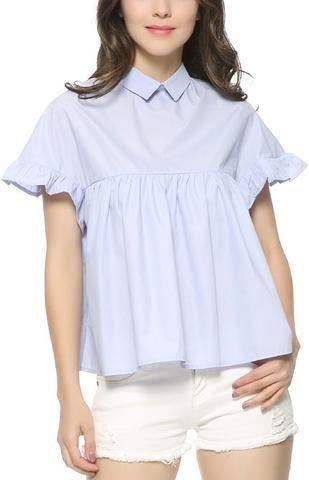 Trendy-Road-Style-Shop-Online-Woman-Fashion-Street-top-blouse-butterfly-sleeve-sky-blue-ruffles