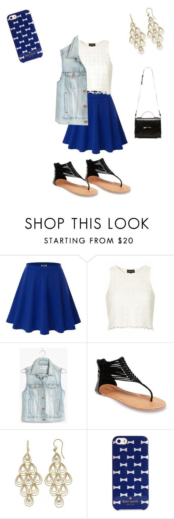 """blue"" by rachelmwebb-1 ❤ liked on Polyvore featuring Doublju, Topshop, Madewell, Wet Seal, Roberto Coin, Kate Spade and Mackage"