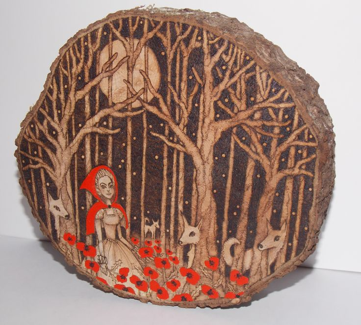 my not so little red riding hood pyrography and acrylic on alder wood...i really loved creating this piece xxx