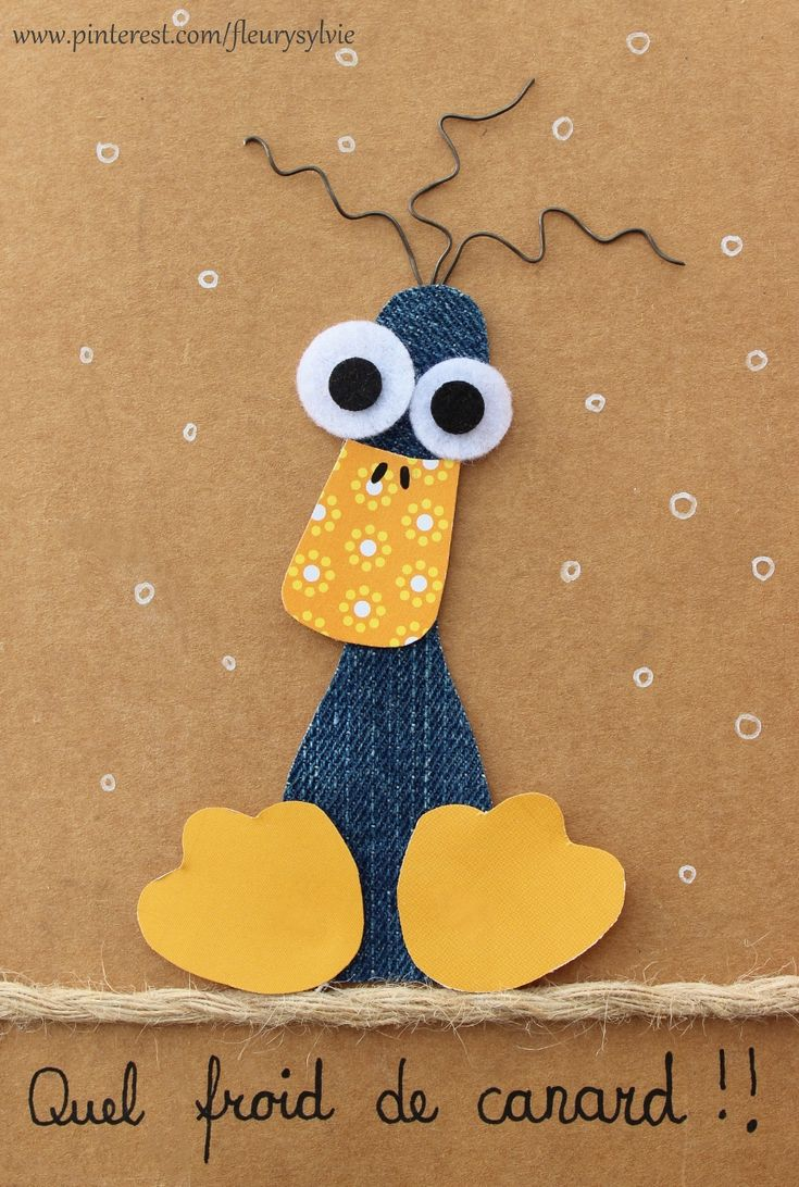 #jeans duck card #recycle https://pinterest.com/fleurysylvie/mes-creas-la-collec/