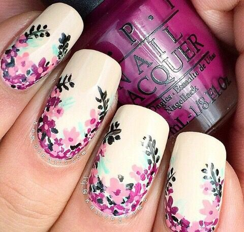 Image via Flower-Nail-Art-Designs-Acrylic-Free-Hand-Floral-Nail-Art - Best 25+ Floral Nail Art Ideas On Pinterest Diy Nails Tutorial