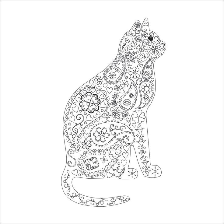 Cat Kitten Adult Coloring Page Instant PDF Digital Download Print And
