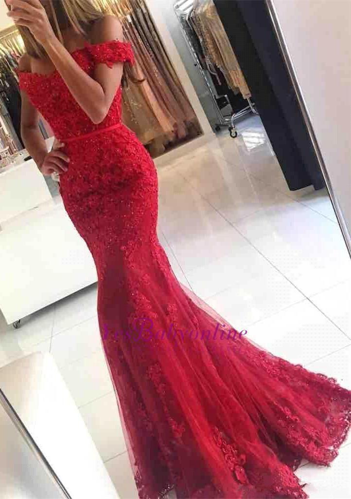 Meerjungfrau off-the-Schulter roter Spitze glamourösen Applikationen Abend dress_großhandel wir …   – Dresses