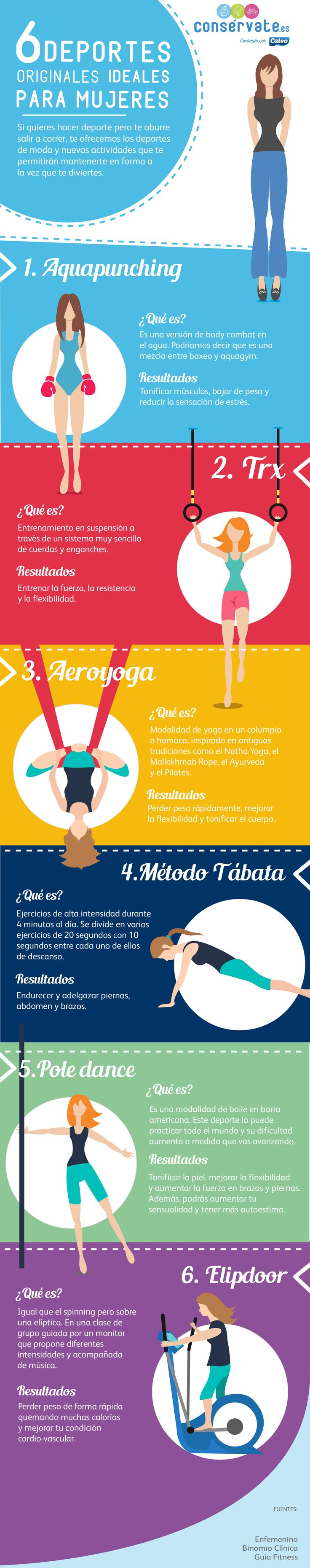 Infografía: 6 deportes originales ideales para mujeres