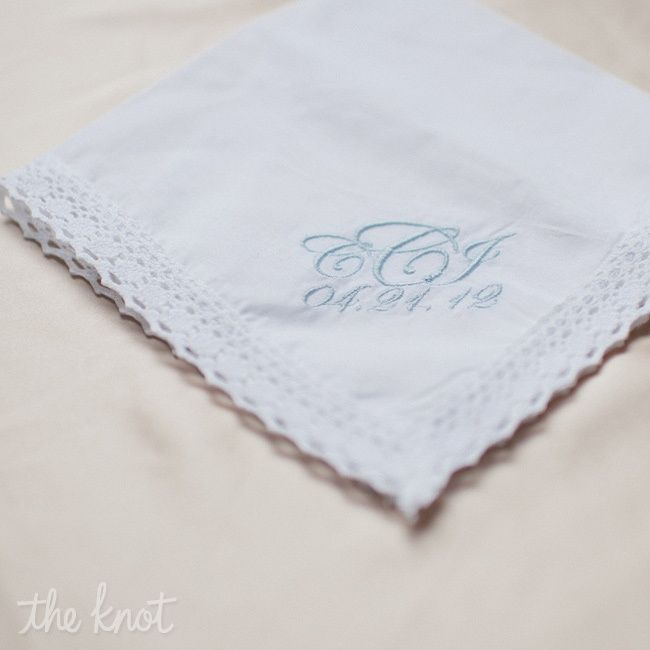 monogram and date wedding hankerchief for bride and groom