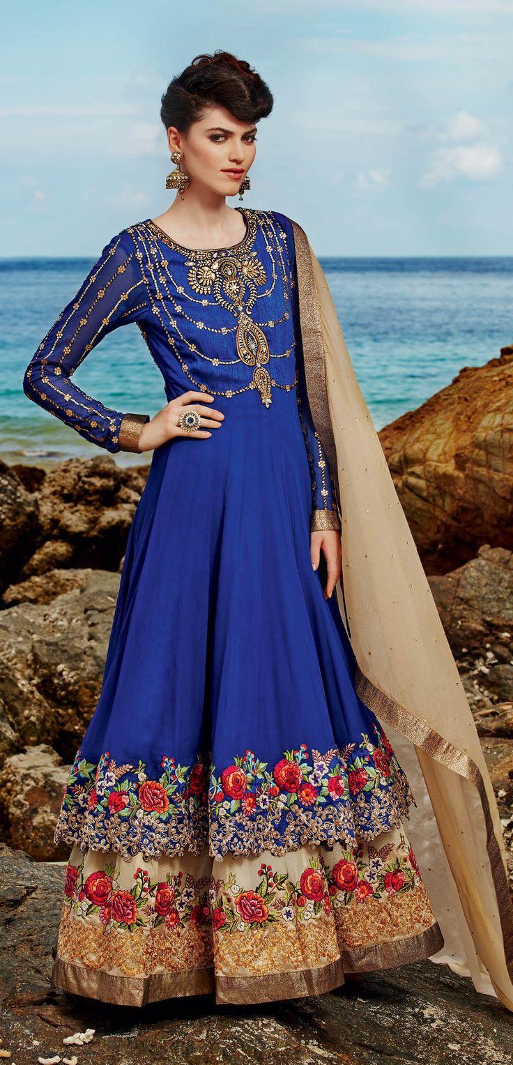 Deep blue shaded with floral design work #longanarkalisuit having cream chiffon dupatta