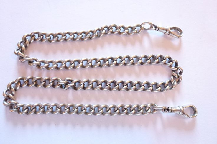 Seltene  elegante  Jugendstil Uhrenkette Panzerkette Silber lange & schwer