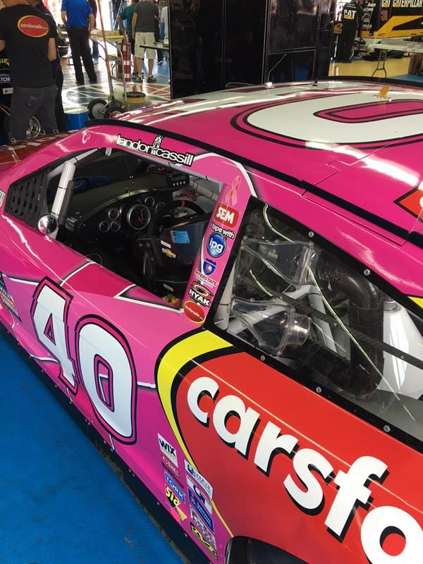 Check out Landon Cassill's pink Carsforsale.com #40 Chevy for the Bank of America 500!