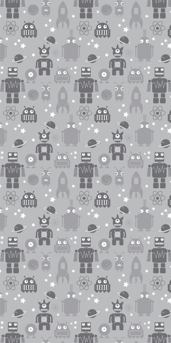 Removable Fabric Wallpaper, Robot Grey, Peel&Stick, Reusable, DIY Re-positionable Self adhesive, for home and business